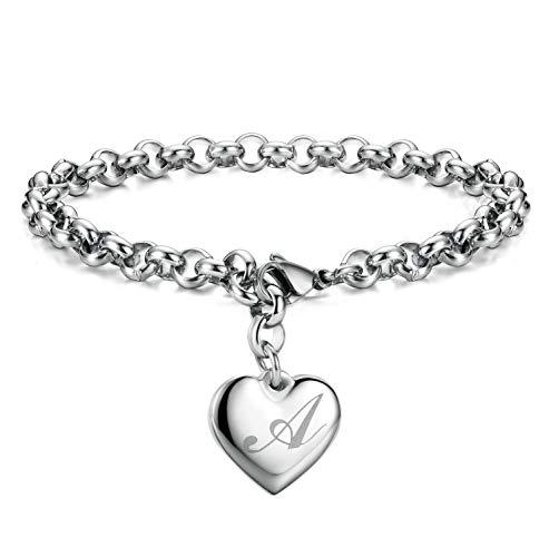 Initial Charm Bracelets Stainless Steel Heart 26 Letters Alphabet Bracelet for Women Valentine's Day Gifts