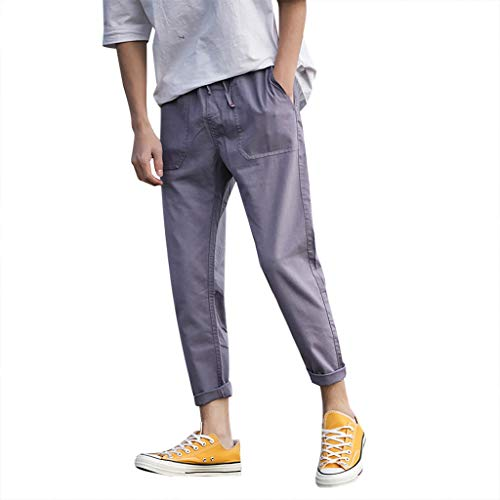 Subfamily Pantalones para Hombre Estilo para Hombre Versión Coreana del Color Sólido Suelto Gran Tamaño Viga Straig Versión Coreana Pantalones Sueltos de Gran Tamaño y Pantalones Rectos Púrpura L
