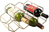 Modern Contemporary Rustic Minimalist Gold Color Free Standing Sturdy 9 Bottle Countertop Table Top Wine Rack Wine Holder Wine Storage with No Assembly Required