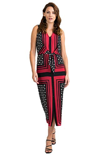 Joseph Ribkoff Red Black & Vanilla Dress Style 201462 - Spring 2020 Collection (18)