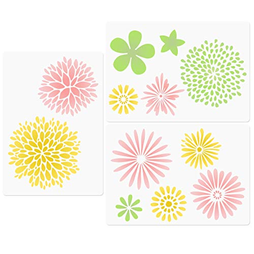 Layered Flower Blossom Stencils, Floral Daisy Bloom Pattern Painting Resuable Templates for Walls Card Making Wood Furniture Nursery Bedroom DIY Projects 8.3'x11.7'