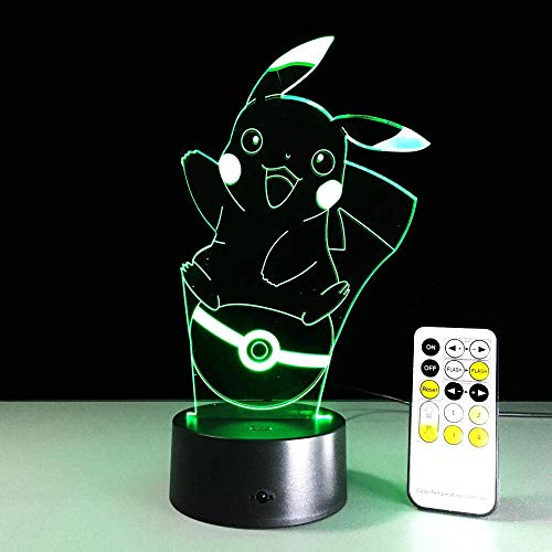 3DFolie LaterneFührteNachtlichtAnime PikachuUsb7Farbwechsel Stimmung Atmosphäre Dekoration Beste Kindergeburtstag Weihnachtsgeschenk