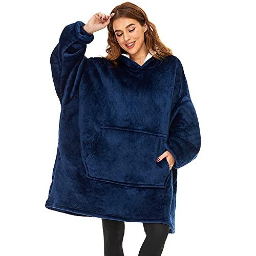 Lushforest Pullover Felpa con Cappuccio Oversize, con Maniche Calda e Confortevole per Uomini, Adatta per Adulti, Uomini e Donne Adolescenti (Blu)