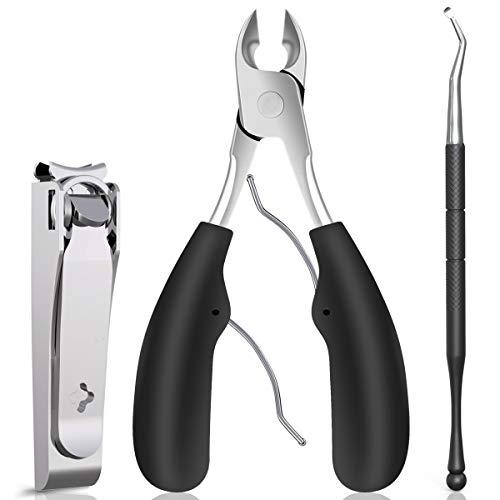 GLAMFIELDS Große Nagelknipser Set, 3 Pcs Sharp Zehennagel und Fingernagelknipser für Männer und Frauen, Edelstahl Nagelschneider Nagelschneider Set (Dark Gray)