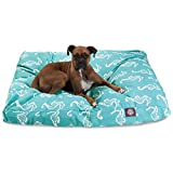 Teal Sea Horse Extra Large Rectangle Indoor Outdoor Pet Dog Bed With Removable...