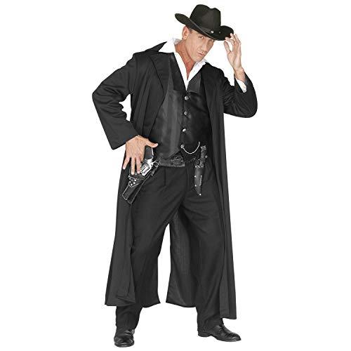WIDMANN 44475 44475 - Disfraz de Bounty Killer, abrigo, vaquero salvaje oeste, carnaval, fiesta temática, Halloween, hombre, negro, XXXL
