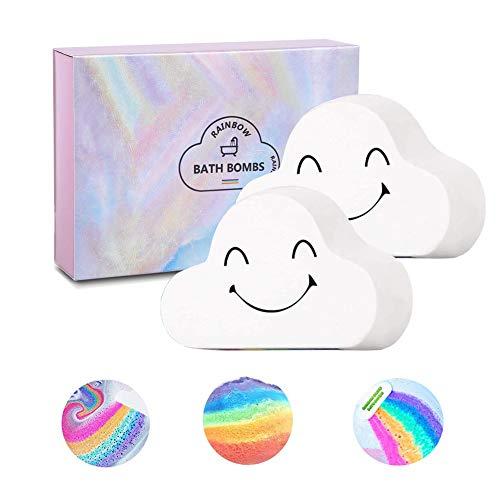 (2 Packungen) Große Badewannenbomben, Bio-Handwerk Regenbogen blasen Badewannen Geschenkset (2 Regenbogen Badebomben)
