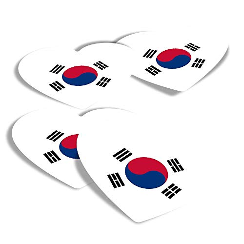 Vinyl Heart Stickers (Set of 4) - Pretty South Korea East Asia Fun Decals for Laptops,Tablets,Luggage,Scrap Booking,Fridges #9145