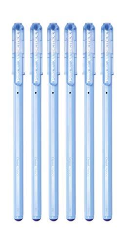 Pentel BK77AB-CE ANTIBACTERIAL+ Kugelschreiber, unterstützt Hygienekonzepte, antibakterielle Wirkung zertifiziert nach ISO 22196, nachfüllbar (BKL77), Schreibfarbe blau, 6 Stück
