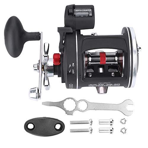 Fafeims 12BB Baitcasting Rueda de Carrete de Pesca Offshore Angle Drum Wheel Accesorios de Aparejos de Pesca con Contador de línea(ACL600-30D-Zurdo Negro)