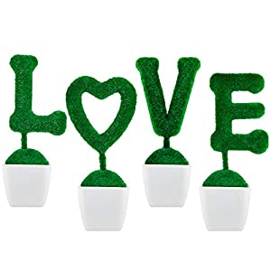 Chuangdi Love Artificial Plant Sculpted Topiary Letter Set Faux Hedge Tabletop Decoration White Pot Valentine Day Wedding Party Home Office Garden Decor