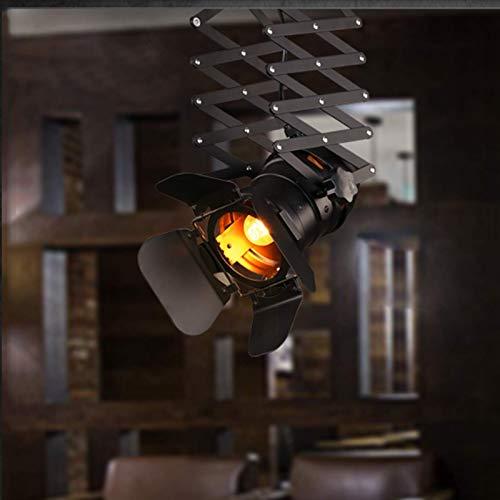 UWY Lámpara Colgante Industrial Vintage con Fondo de elevación, luz Colgante de Pared, Luces de riel Creativas, luz de Techo, iluminación LED, decoración, lámparas Negras para Bar, Restaurante,