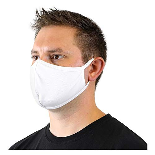 Cloth Face Masks – Reusable Nose & Mouth Mask, 3 Layer, Washable Facemask, Teens & Adults – Protects from Dust, Pollen, Pet Dander & Other Irritants (5 Masks (1 Pkg)) (White)