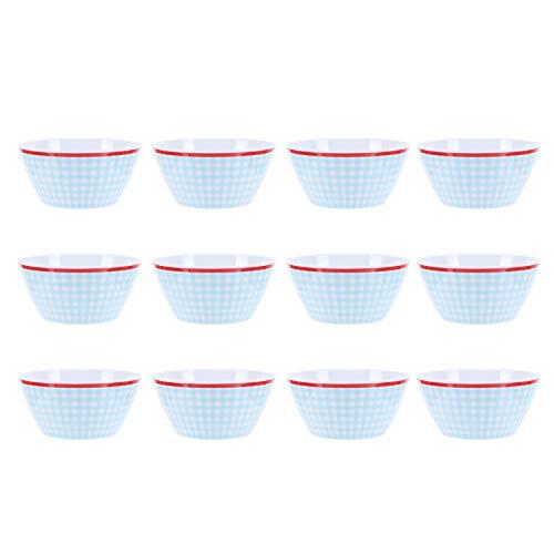 Cuencos de ensalada, vajilla de porcelana de imitación, vajilla de guerra, cuenco de comida, cuenco de comedor, vajilla de cocina, recipiente de comida, vajilla para cocina(Cuadrícula azul claro)