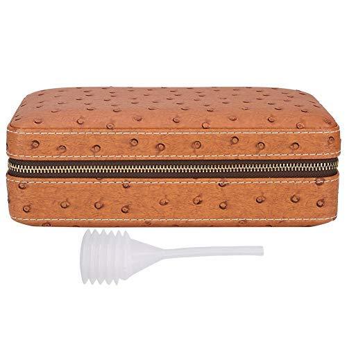 Garosa Tragbare Zedernholz-Zigarrenschachtel Zigarrenschachtel aus spanischer Zeder Aufbewahrungsbox Reisehumidor im Freien Reißverschluss-Etui für Reiseveranstalter(#03)