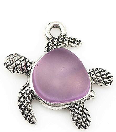 Sadingo Colgante de tortuga 5 piezas plata púrpura, accesorios de joyería DIY DIY joyas colgantes Turtle Charms Jewelry Making