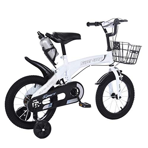Kids Bike Children's Bicycle Boys Girls Freestyle Bicycle 14 Inch with Balance or Training Wheels, Basket & Kettle (14 inch, White A)