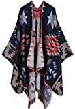 Womens Reversible Oversized Blanket Poncho Cape Shawl Cardigans (One Size, Geometric Patterns/Black&Coffee)