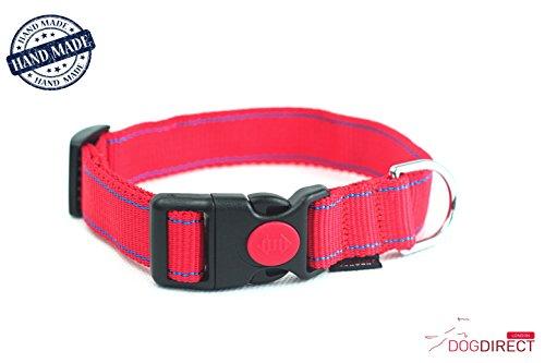 DogDirect London OL6 hondenhalsband, maat L en M, handgemaakt, robuust, met sluitmechanisme, voor de veiligheid, maat L, rood-blauw