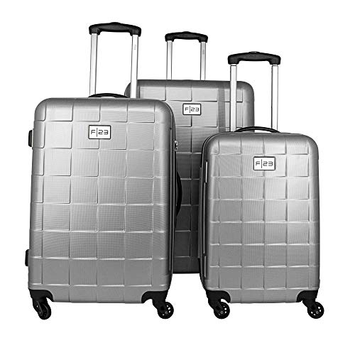 F23 Trolley-Set - 3-TLG. Koffer-Set Wave 3.0-Serie in Silber - 3 ABS Hartschalenkoffer, TSA-Schloss