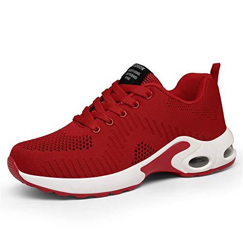 LUOBANIU Damen Sportschuhe Laufschuhe mit Luftpolster Turnschuhe Sneakers Trainer Leichte Air Schuhe (Rot, 37)