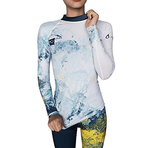NU-JUNE Traje de baño de manga larga Rashguard para mujer UV50+ traje de baño de la camisa de natación - blanco - Large