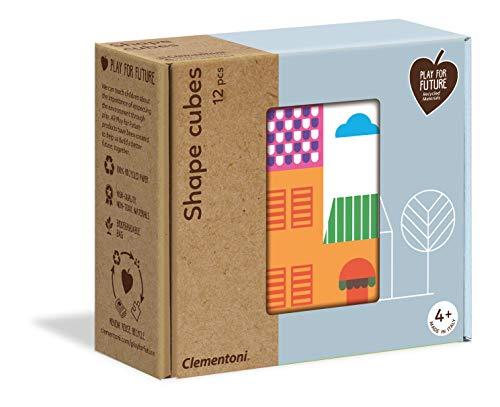 Clementoni- Shape Ville-Puzzle de Cube 12 pièces-matériaux 100% recyclés-fabriqué en Italie, 4 Ans et Plus, 16227, Multicolore