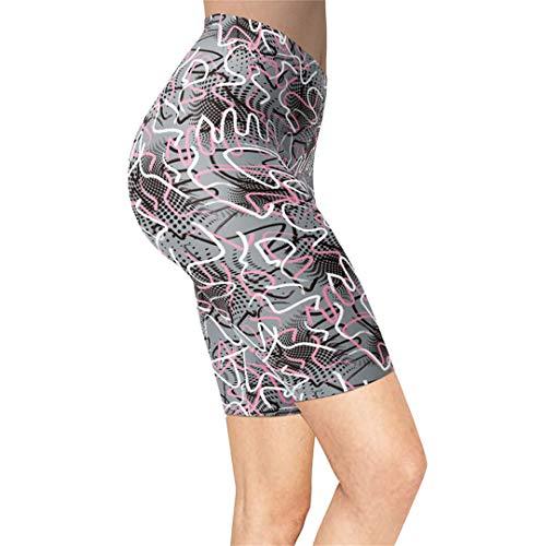 Linnhorr Leggings Cortos de Motociclista con Estampado geométrico para Mujeres, niñas, líneas Estampadas, Push Up, Pantalones Casuales Suaves y Suaves S-L