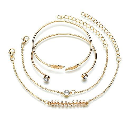 4 pulseras para mujer con diamantes brillantes, pulseras ajustables para mujer, regalo para mamá, regalo para el día de la madre