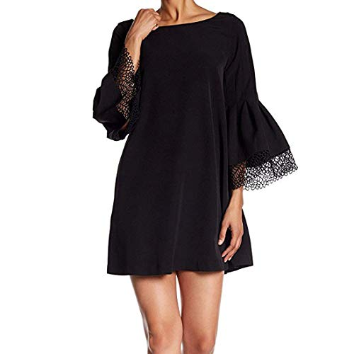 LAUNDRY BY SHELLI SEGAL Shift Dress with Lace Sleeve & Hem Detail Black 12