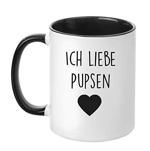TassenTicker - Ich Liebe Pupsen - Tasse - Kaffeetasse - 4 Farben Auswahl - (Schwarz)
