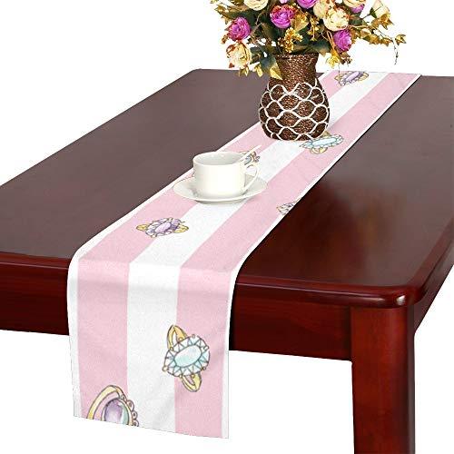 XiexHOME Golden Diamond Verlobungsringe Tischläufer Küche Esstisch Läufer 16 x 72 Zoll für Dinner Parties Events Decor
