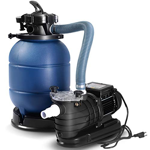 Goplus 13' Sand Filter Pump for Above Ground Pools 2450GPH Swimming Pool Pump w/Pressure Gauge, 10000GAL