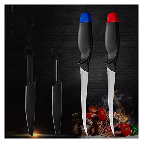 2 unids de acero inoxidable Boneamiento de pescado Juego de cuchillos de color rojo CUCHILLO DE CUERCO Funda Sushi Sashimi Fileteado (Color : 2PCS SET)