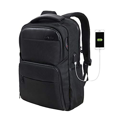 YOMEGO Travel Black Backpack Shock Resistant School Backpack with USB Charging Port & Headphone Access for Men and Women - Fit for 17 Inch Laptop, Black, Navy Color