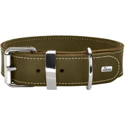 HUNTER AALBORG SPECIAL Hundehalsband, Leder, strapazierfähig, komfortabel, 50 (S-M), oliv