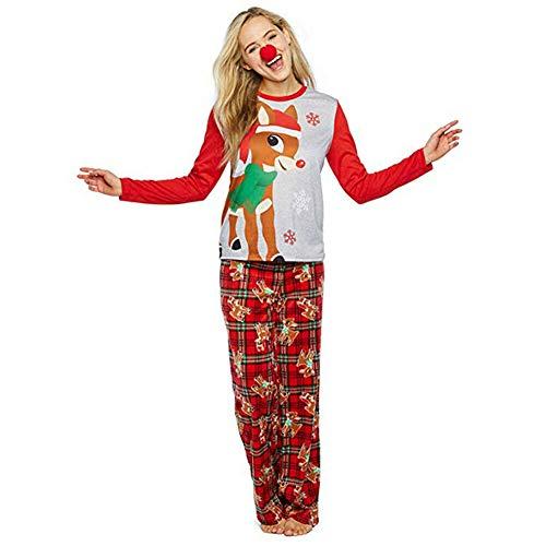 Winter Familien Schlafanzug Damen Herren Kinder Weihnachten Nachw?sche Hirsch Druck Nachthemd und Hosen Pyjama Outfits (4T Kinder)