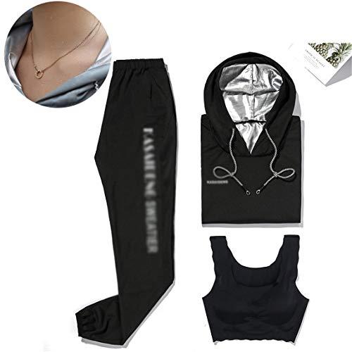 HHORD Sweat Sauna Costumes pour Femmes Perte De Poids Plus Size Anti-Rip Sport Workout Costumes Running Minceur Sauna Suit Fat Burner Durable Manches Longues Sweat Workout Vêtements,B,M