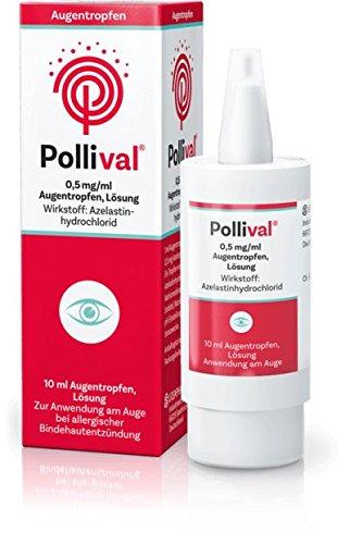 Pollival Augentropfen Spar-Set 3x10ml. Wirkt antiallergisch und entzündungshemmend gegen juckende und tränende Augen bei allergischer Bindehautentzündung im Zusammenhang mit Heuschnupfen.