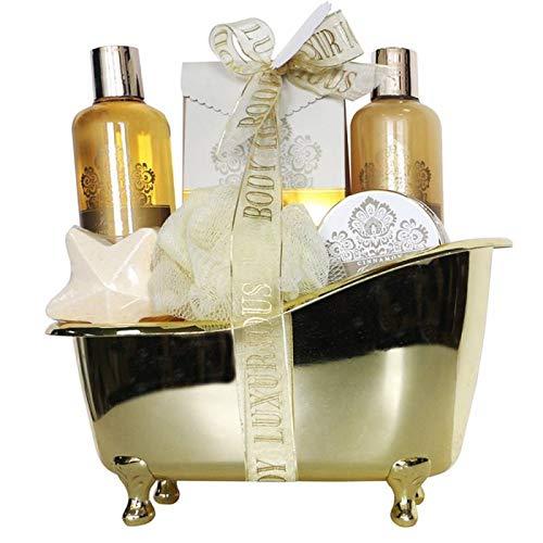 Coffret cadeau beauté pour femme - Baignoire de bain dorée incluant des cristaux de bain et une étoile effervescente pour bain - Collection Body Luxurious - Vanille/Tilleul