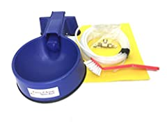 A compact easy to clean automatic filling water bowl with interior water line kit and 25' of hose Stop that daily chore of filling and cleaning your dogs water bowl with this easy to clean Auto Filling water bowl This water bowl has a compact float v...