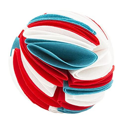 Baoblaze Juguetes interactivos para Perros, Snuffle Ball para Entrenamiento del olfato de Perros, Juegos interactivos de alimentación para aliviar la ansiedad - Blanco Rojo Azul s