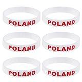 LUOEM Silikon Armbänder WM Flagge Fahne Polen Land Armband Fanartikel Fussball 2018 WM 6 Stücke Poland