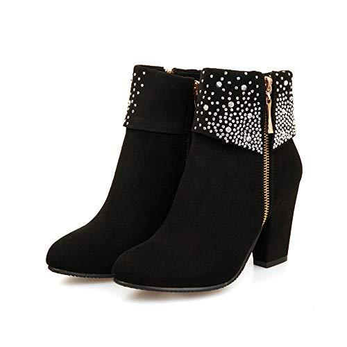 WHSHINE Damen Winter Strass Frauen Booties Schuhe mit Niedrig Absatz Runde Zehe Schuhe Frau Stiefeletten Dicker Absatz Reißverschluss Stiefel Boots(Schwarz,42)