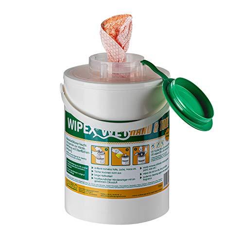 Stabilo Wipex Hand & Tool Reinigungstücher | Feuchte Tücher im Spendereimer | 120 Tücher