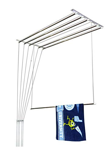 Homwell Deluxe Heavy Duty Stainless Steel (6 Pipe X 6 Feet) Ceiling Cloth Hanger/Ceiling Cloth Dryer