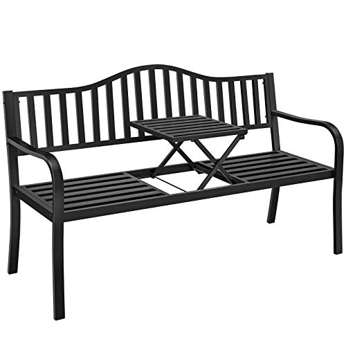 Yaheetech Garden Bench w/Pullout Middle Table, Double Seat Steel Bench for Outdoor Patio Garden Backyard, Weather-Resistant Frame, Black