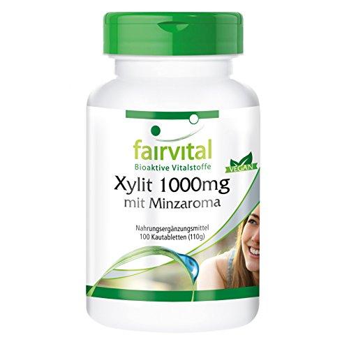 Xylit 1000mg Tabletten mit Minzaroma - HOCHDOSIERT - VEGAN - 100 Kautabletten
