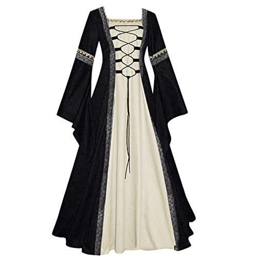 NHNKB Disfraz medieval para mujer, cors de terciopelo para Halloween, carnaval, fiesta temtica, bruja, vampiro, gtico, cosplay, color negro, S