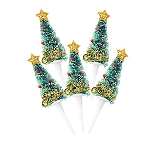 ZJF 5PCS Christmas Cake Topper Mini Christmas Tree Cupcake Toppers Ornaments New Year Xmas Party Kids Birthday Cake Decor Supplies0 (Color : B07)